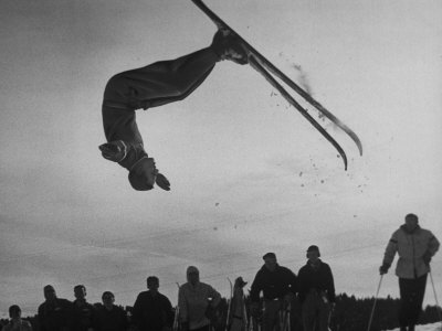Acrobatic Skier Jack Reddish in Somersault at Sun Valley Ski Resort Stretched Canvas Print