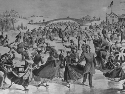 Assembly of Ice Skaters on Lake in Central Park in Winter Stretched Canvas Print