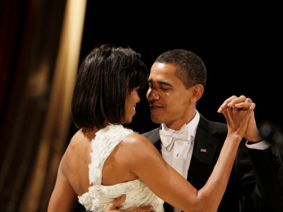 President Obama and First Lady Michelle Obama Dance at the Midwest Inaugural Ball, January 20, 2009 Stretched Canvas Print