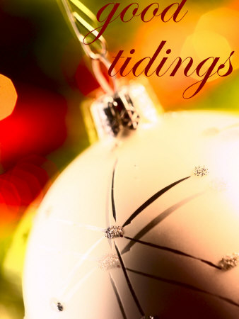 Good Tidings over Christmas Ornament Stretched Canvas Print