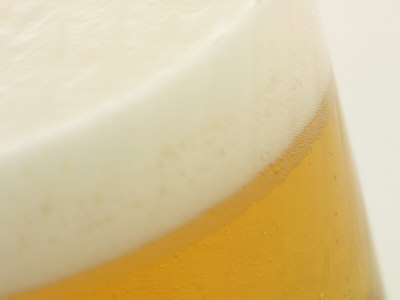 Close Up of a Frosty Cold Glass of Beer Stretched Canvas Print