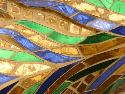 Close-Up of a Stained Glass Artwork, Thailand Stretched Canvas Print