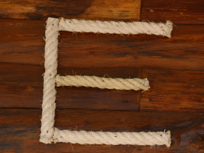 Letter E Rope on Wood Stretched Canvas Print