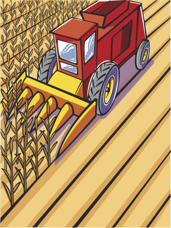 Harvester Plowing Wheat Field Stretched Canvas Print