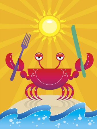 Smiling Crab on Beach with Knife and Fork Stretched Canvas Print