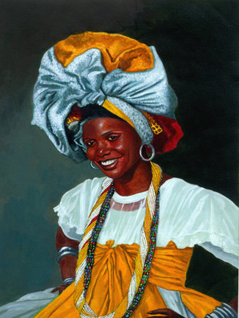 Portrait of Smiling Woman in Cultural Garb Stretched Canvas Print