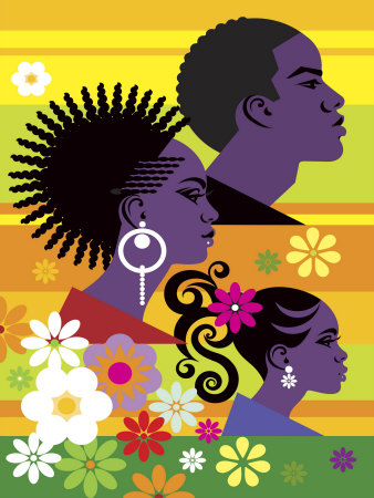 Hairstyles on Three People Stretched Canvas Print