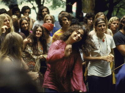 Psylvia, Dressed in Pink Indian Shirt Dancing in Crowd, Woodstock Music and Art Festival Stretched Canvas Print