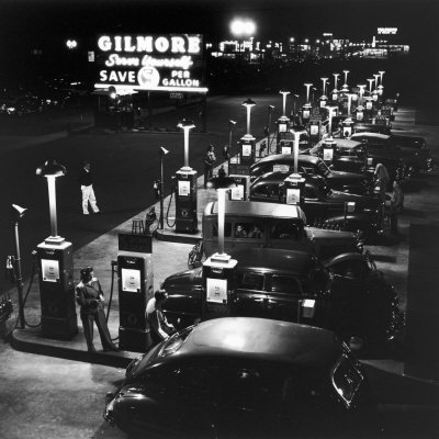 Gilmore Gas Station Featuring Eight Islands, Three Pumps Each, Girl Makes Change Every Two Islands Stretched Canvas Print