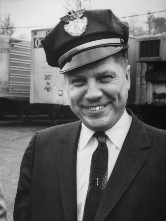 Pres. of Teamsters Union Jimmy Hoffa Sporting Driver's Cap of Be-Mac Transport Co Stretched Canvas Print