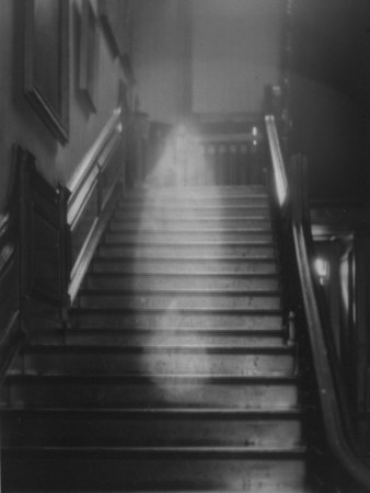 Ghost Descending the Staircase at Raynham Hall, Norfolk, England Stretched Canvas Print