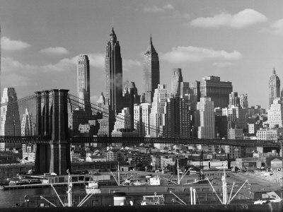 New York City Skyline and Brooklyn Bridge, 1948 Stretched Canvas Print