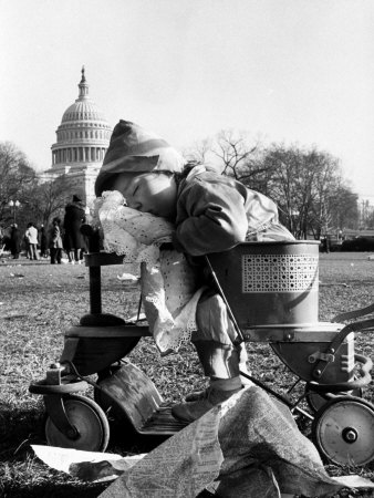 Child Sleeping in Stroller During Celebrations for the Inauguration of Harry S. Truman Stretched Canvas Print