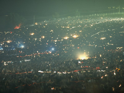 Long Exposure of Huge Night Time Crowd, Showing Lights All Over, Woodstock Music and Art Fair Stretched Canvas Print