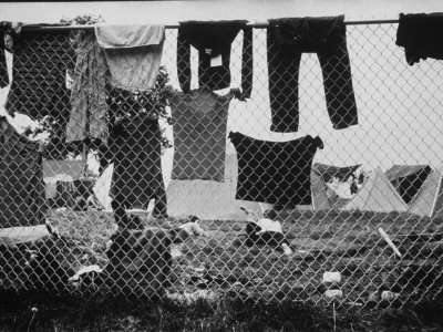 Laundry Hanging on Fence at Woodstock Music Festival Stretched Canvas Print