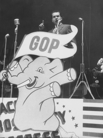 GOP Candidate Richard M. Nixon Campaigning with the GOP Poster Profiling in Front of Him Stretched Canvas Print