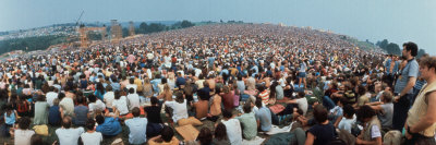 Seated Crowd Listening to Musicians Perform at Woodstock Music Festival Stretched Canvas Print