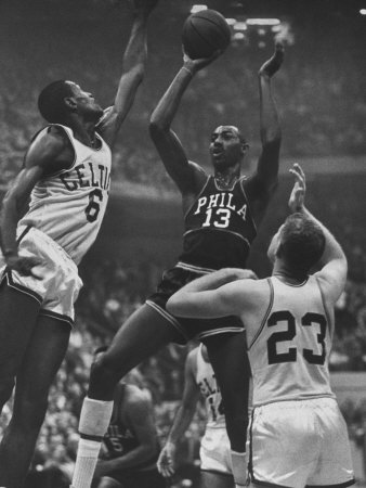 Basketball Players Bill Russell and Wilt Chamberlain During Game Stretched Canvas Print