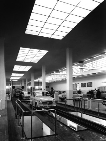 Inside of a Fiat Factory in Bologna, the Cars are Being Assembled by the Workers Stretched Canvas Print