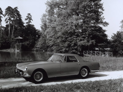 Ferrari-Pininfarina Parked in Front of a Pond Surrounded by Vegetation Stretched Canvas Print