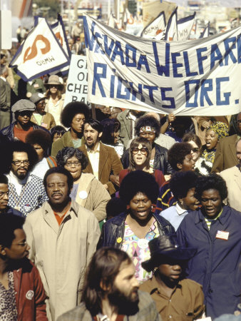 Actress Jane Fonda and Ralph Abernathy Joining Together for a Welfare Rights March Stretched Canvas Print