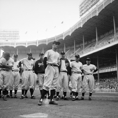 New York Yankee Jerry Coleman Backed Up by Teammates after Being Called for Duty During Korean War Stretched Canvas Print
