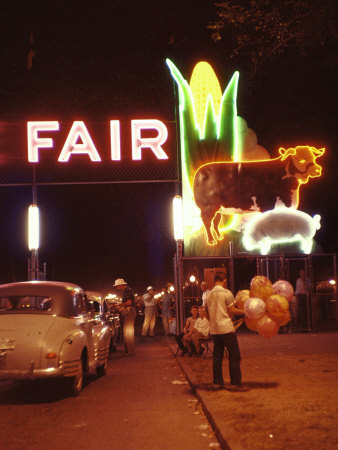 Man Selling Balloons at Entrance of Iowa State Fair Stretched Canvas Print