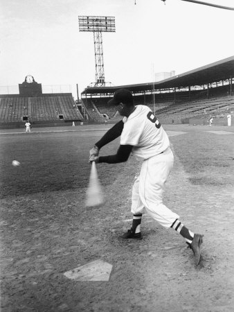 Ted Williams Taking a Swing During Batting Practice Stretched Canvas Print
