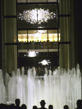 Plaza Outside the New Metropolitan Opera House, Opening Night at Lincoln Center Stretched Canvas Print