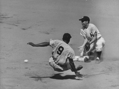 Yankee Phil Rizzuto Waiting to Catch the Ball During the American League Pennant Race Stretched Canvas Print