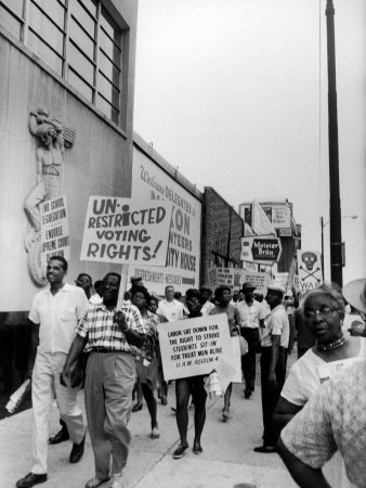 Negro Demonstration for Strong Civil Right Plank Outside Gop Convention Hall Stretched Canvas Print