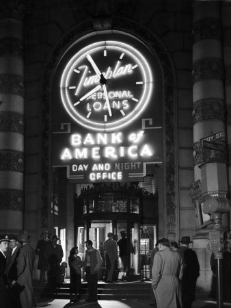 Customers Standing in Front of a Branch of Bank of America, Open from 10 to 10, Six Days a Week Stretched Canvas Print