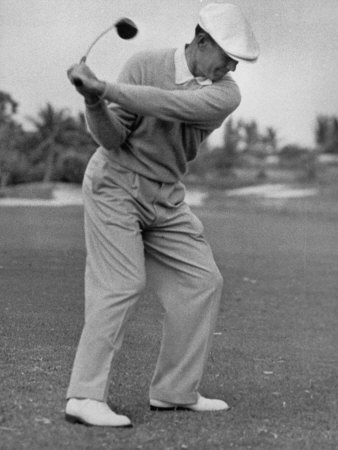 Golfer Ben Hogan, Dropping His Club at Top of Backswing Stretched Canvas Print