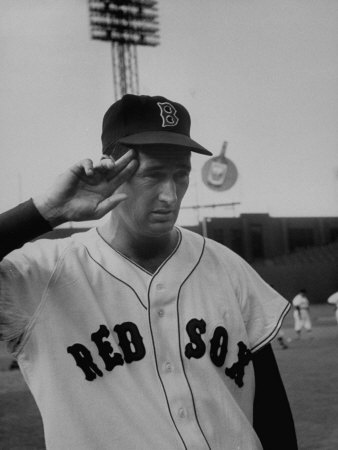 Red Sox Player Ted Williams Suited Up for Playing Baseball Stretched Canvas Print