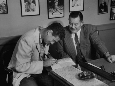 Player Ted Williams Signing Contract with Red Sox Manager, Thomas A. Yawkey Stretched Canvas Print