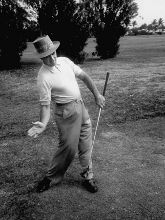 Golfer Sam Snead Demonstrating Sweep of Right Hand in Ben Hogan's Golf Stroke Stretched Canvas Print