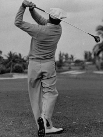Golfer Ben Hogan, Demonstrating His Golf Drive Stretched Canvas Print