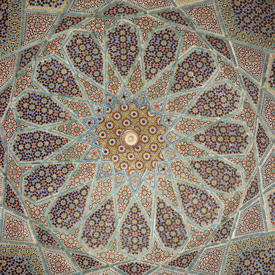 Detail of Interior of the Tomb of the Persian Poet Hafiz, Shiraz, Iran, Middle East Stretched Canvas Print