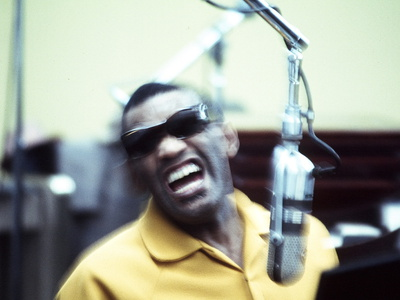 Ray Charles in the Recording Studio Stretched Canvas Print