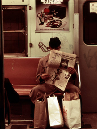 1970s America, Graffiti on a Subway Car, New York City, New York, 1972 Stretched Canvas Print