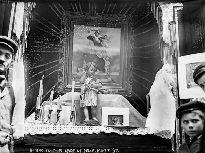 Little Italy, Altar to Our Lady of Help, Mott St., New York, 1908 Stretched Canvas Print