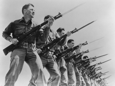 World War II, Bayonet Practice at a U.S. Army Training Camp,
