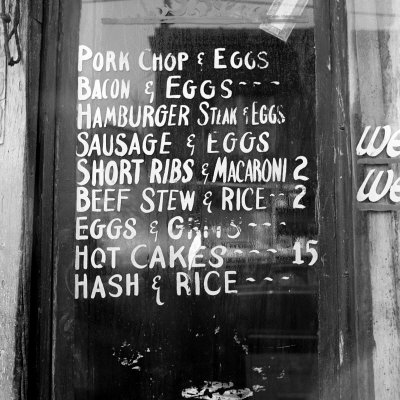 Soul Food; Menu in the Window of a Restaurant, Detroit, Michigan, 1940 Stretched Canvas Print