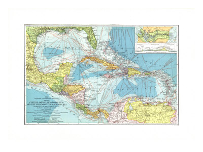 1913 Central America, Cuba, Porto Rico, and the Islands of the Caribbean Sea Stretched Canvas Print