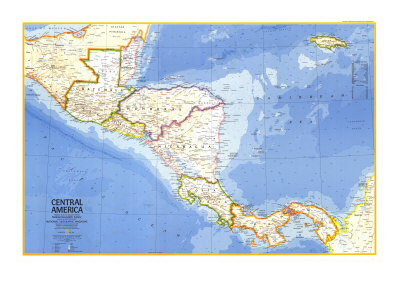 Central America Map 1973 Stretched Canvas Print