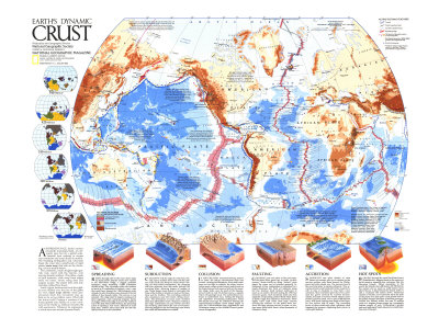 1985 Earths Dynamic Crust Map Stretched Canvas Print