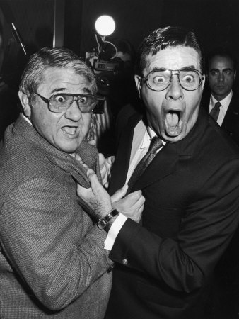 Entertainers Buddy Hackett and Jerry Lewis During Luncheon Given by the Friars Club in Lewis' Honor Stretched Canvas Print