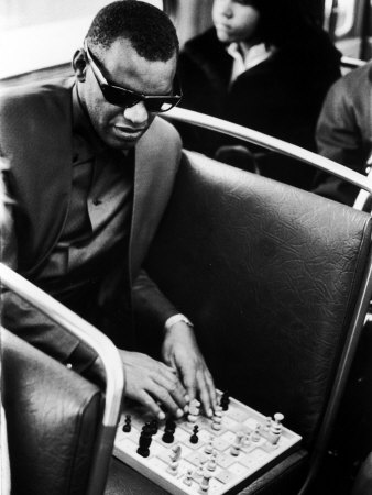 Blind Singer Ray Charles Playing Chess on a Board with Special Niches Stretched Canvas Print