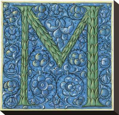 letter m images. Letter M, Detail with Flowers