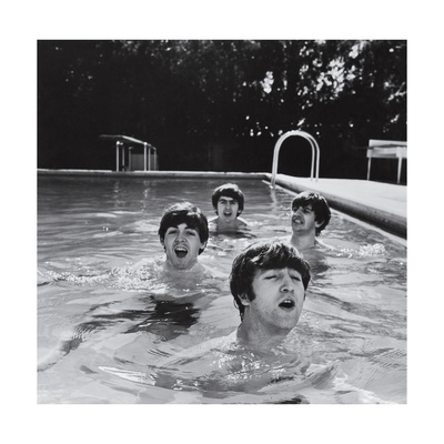 Paul McCartney, George Harrison, John Lennon and Ringo Starr Taking a Dip in a Swimming Pool Stretched Canvas Print